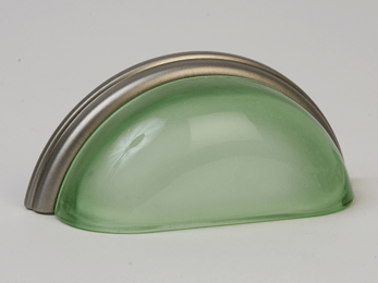 Frosted Green / Brushed Nickel Glass Bin Pull 3-3/4""