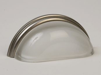 Frosted Clear / Brushed Nickel Glass Bin Pull 3-3/4""