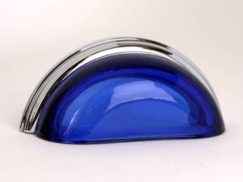 Transparent Cobalt / Polished Chrome Glass Bin Pull 3-3/4""