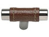 Zanzibar Collection Polished Chrome 1.9 In Brown Leather Knob