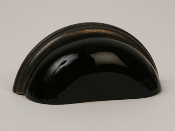 Black / Oil Rubbed Bronze Glass Bin Pull 3-3/4""