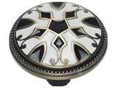 Canterbury Collection Antique Brass W/Enameling Lacquer In Black & White 1.5 In Knob