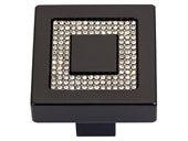 Boutique Crystal Collection Matte Black 1.4 In Square Inset Crystal Knob