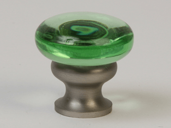Transparent Green / Brushed Nickel Mushroom Glass Knob