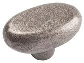 Distressed Collection Pewter 1.7 In  Oval Knob