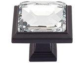 Legacy Crystal Collection Black 1.3 In Square Knob