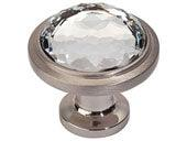 Legacy Crystal Collection Brushed Nickel 1.3 In Round Knob