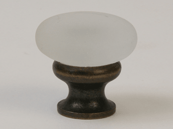 Frosted Clear / Oil Rubbed Bronze Mushroom Glass Knob