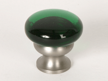 Transparent Emerald Green / Brushed Nickel Mushroom Glass Knob