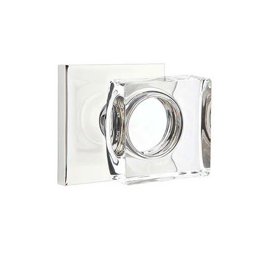 Emtek Modern Square Crystal Knob w/ Square Rosette - Privacy