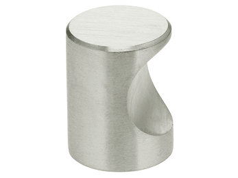 "13/16"" Diameter Omnia Thumb Pull Cabinet Knob Satin Stainless Steel"