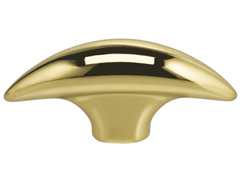 "1-7/8"" Length Omnia Modern Tapered Bow Cabinet Knob Polished & Lacquered Brass"