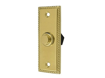 Rectangular Rope Bell Button - Polished Brass