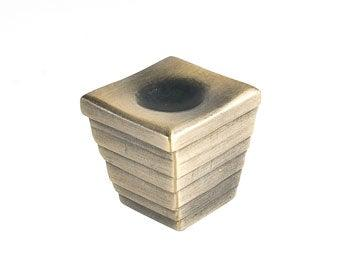 Forged 2 - Large Cube Knob  - Antique Brass - New York Hardware Online