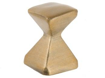 Forged 2 - Small Square Knob - Antique Brass - New York Hardware Online