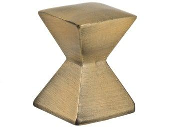 Forged 2 - Large Square Knob  - Antique Brass - New York Hardware Online