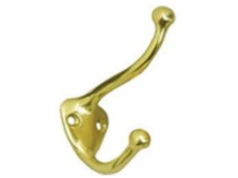Solid Brass Coat & Hat Hook - Polished Brass
