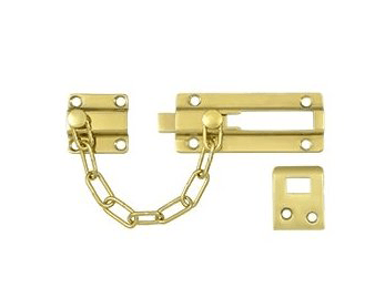 Security Door Guard Chain with Doorbolt - Polished Brass