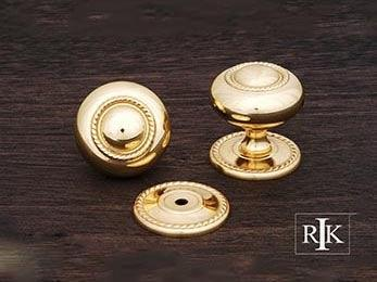 "Rope Knob with Detachable Back Plate 1 1/2"" (38mm) - Polished Brass"