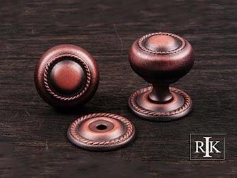 "Rope Knob with Detachable Back Plate 1 1/4"" (32mm) - Distressed Copper"