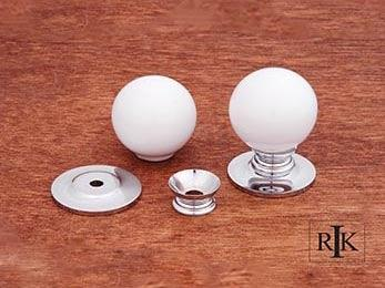 "White Porcelain Chrome Knob 1 1/4"" (32mm) - Chrome"