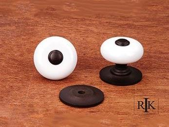 "White Porcelain Knob with Oil Rubbed Tip 1 1/4"" (32mm) - Oil Rubbed Bronze"
