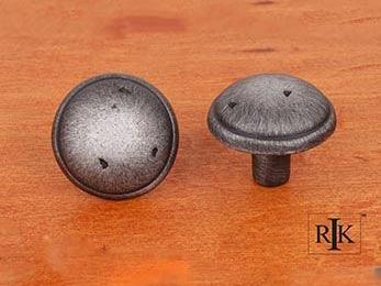 "Distressed Mushroom Knob with Ring Edge 1 3/8"" (35mm) - Distressed Nickel"