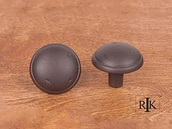 "Distressed Mushroom Knob with Ring Edge 1 3/8"" (35mm) - Oil Rubbed Bronze"