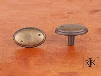 "Distressed Oval Knob with Ring Edge 1 5/8"" (41mm) - Antique English"