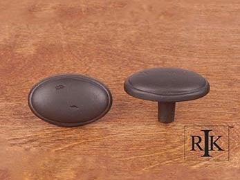 "Distressed Oval Knob with Ring Edge 1 5/8"" (41mm) - Oil Rubbed Bronze"