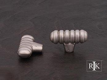 "Distressed Large Ribbed Knob 1 13/16"" (46mm) - Pewter"