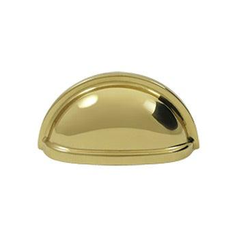 "Oval Shell Handle Pull 3 1/2"" - Polished Brass"