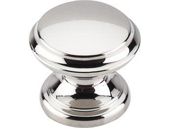 "Flat Top Knob 1 3/8"" - Polished Nickel"