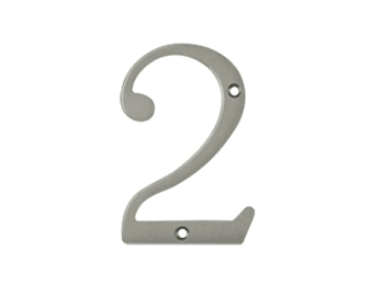 "Solid Brass 4"" Number #2 - Satin Nickel"
