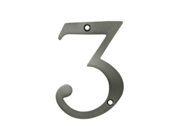 "Solid Brass 4"" Number #3 - Pewter"