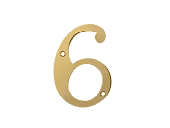 "Solid Brass 4"" Number #6 - PVD - Polished Brass"