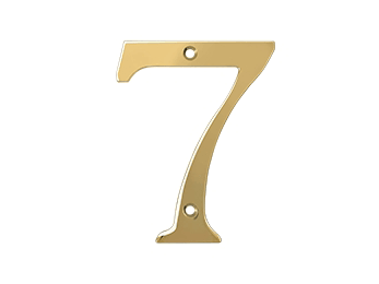 "Solid Brass 4"" Number #7 - PVD - Polished Brass"