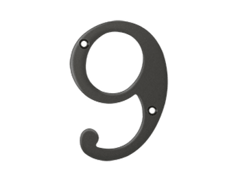 "Solid Brass 4"" Number #9 - Oil Rubbed Bronze"