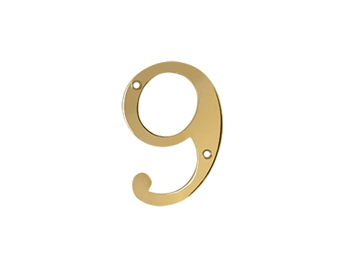 "Solid Brass 4"" Number #9 - PVD - Polished Brass"