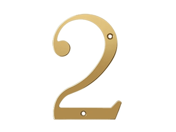 "Solid Brass 6"" Number #2 - PVD - Polished Brass"