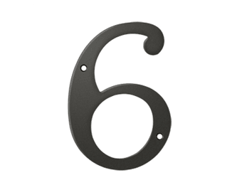 "Solid Brass 6"" Number #6 - Oil Rubbed Bronze"