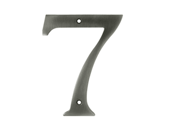 "Solid Brass 6"" Number #7 - Pewter"