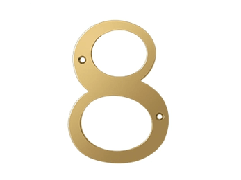 "Solid Brass 6"" Number #8 - PVD - Polished Brass"