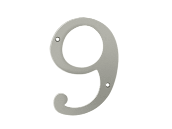 "Solid Brass 6"" Number #9 - Satin Nickel"