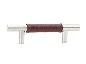 "Stainless Steel Brown Leather Bar Pull - 4"" (102mm)"