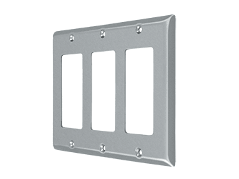 Triple Rocker Switch Plate - Brushed Chrome