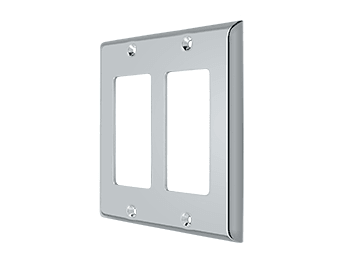 Double Rocker Switch Plate - Polished Chrome