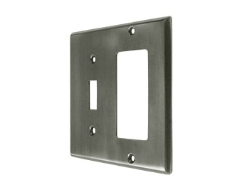 Single Switch and Single Rocker Combination Switch Plate - Pewter