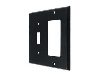 Single Switch and Single Rocker Combination Switch Plate - Black