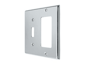 Single Switch and Single Rocker Combination Switch Plate - Polished Chrome